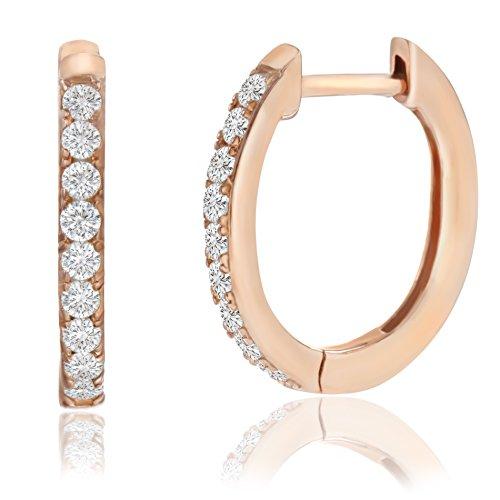 Lesa Michele Cubic Zirconia Huggie Hoop Earrings in Rose Gold over Sterling Silver (Pink)