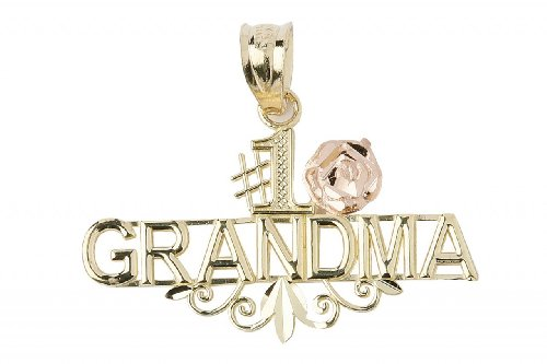 1 Grandmother Charm - 14k Two-Tone Gold Grandmother Rose Flower Charm #1 Grandma Pendant