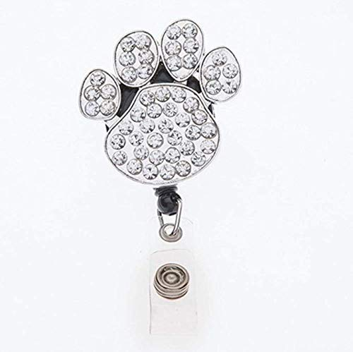 - Infinity Collection Paw Print Rhinestone Retractable ID Badge Reel with Swivel Clip, Badge Holder for Nurses, Teacher or Office Badge Holder