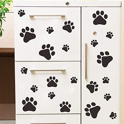 (Yiwa Wall Stickers Removable Cartoon Dog Cat Walking Paw Print Wall Decal for Kids Room Wall Decoration)