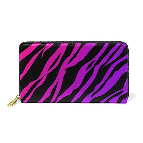 Zebra Print Checkbook Wallet - Pink Zebra Print Leather Large Long Zipper Clutch Women Wallet Phone Passport Checkbook Card Holder