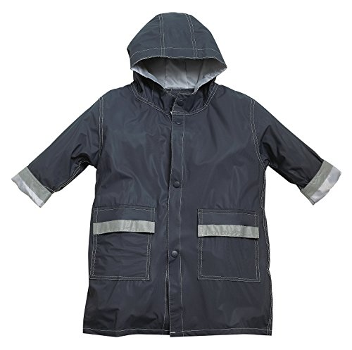 FIT RITE Boys Hooded Waterproof Long Raincoat with Reflective Stripes (10/12, Navy)