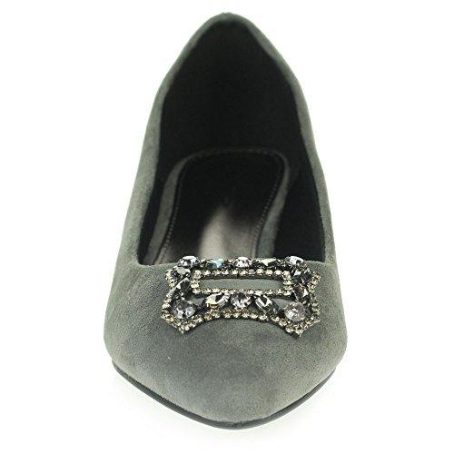 Tamaño Zapatos Fiesta Paseo Kitten Mujer Bajo Diamante De Nupcial Corte La Noche Gris Heel Señoras Boda URg6vq