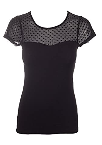 Sidecca Knit Polka Dot Sheer Sweetheart Neck Contrast Short Sleeve Top-Black-Small - Sweetheart Neck Top