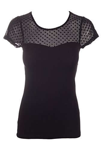 Sidecca-Knit-Polka-Dot-Sheer-Sweetheart-Neck-Contrast-Short-Sleeve-Top