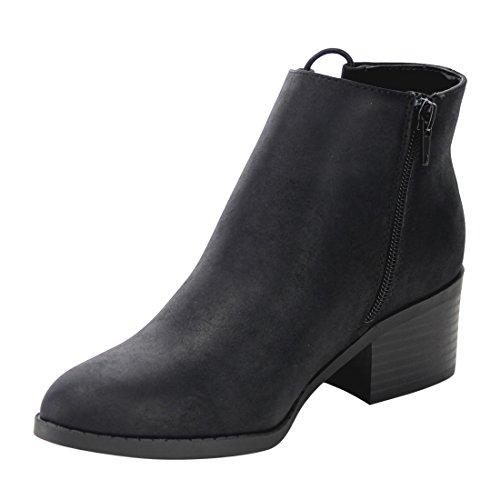 Womens FF51 CityClassified Elastic Side Booties Ankle Black String Heel Block q4dPd5w