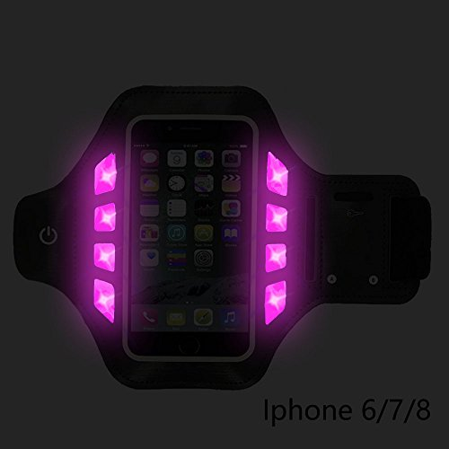 RICO Lighting LED Reflective Illuminated Cell Phone Case Armband Adjustable Waterproof Fingerprint Touch Supported Sports Armband for Night Exercise - Fits Smartphone Screen 4.5