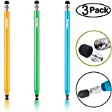 Honsky Universal Sensitive Slim Long Pencil-style Metal Screen Touch Cell Phone Tablet Capacitive Stylus Pen, Compatible with iPad iPhone Samsung, Android Devices (Blue, Champagne, Green/3 Packs)