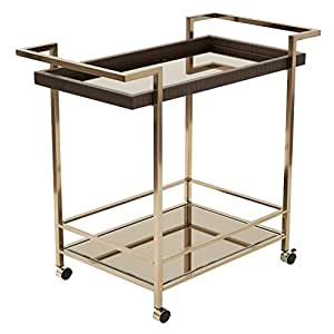 OSP Designs Isabella Wine Cart with Bronze Glass Top In Metal Frame, Champagne