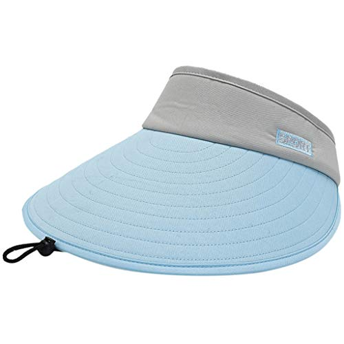 (KCPer Sun Visor Hats Women Large Brim Summer UV Protection Beach Cap, Multiple Colors Thicker Sweatband Adjustable Hat for Golf Cycling Fishing Tennis Running Jogging and Other Sports)