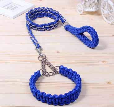 bluee LTangFei Dog Chain Medium Large Dog Dog golden Retriever Dog Walking Rope Chain Collar Chain Traction (color   bluee, Size   L)