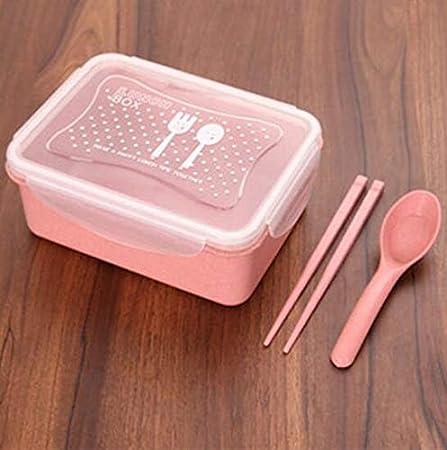 Upstudio Caja de Desayuno lonchera Caja de Almuerzo Creativa de Paja de Trigo Caja de Almuerzo aislada sellada para Adultos: Amazon.es: Hogar