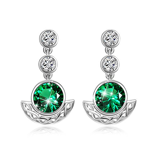 AOBOCO Sterling Silver Celtic Knot Drop Dangle Earrings With Simulated Emerald Green Swarovski Crystals,Vintage Irish Jewelry Earrings for Women