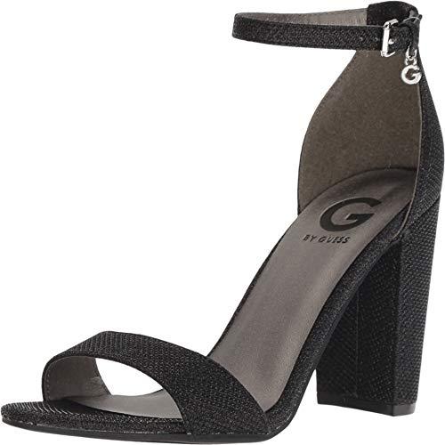 Sandals Guess Metallic (G by GUESS Womens Shantel 5 Metallic Ankle Strap Dress, Black Glamour, Size 7.5)