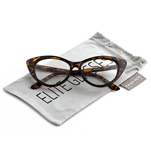 Retro 60s 70s Fashion Design Clear Lens Plastic Cat Eye Frame Women Eyeglasses (Tortoise, - Eyeglasses 70s