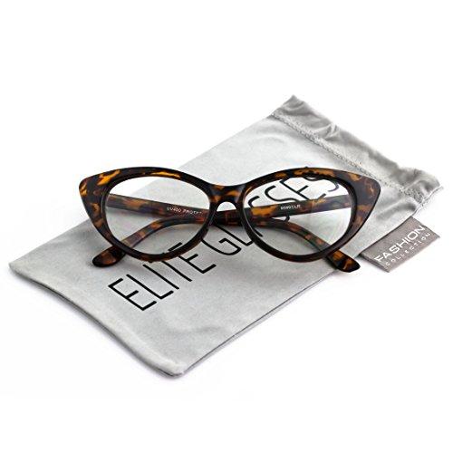 Retro 60s 70s Fashion Design Clear Lens Plastic Cat Eye Frame Women Eyeglasses (Tortoise, - 70s Eyeglasses
