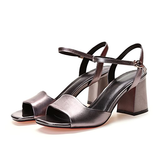 Las mujeres los zapatos de cuero verano Sandalia Tacón negro,38 gun color