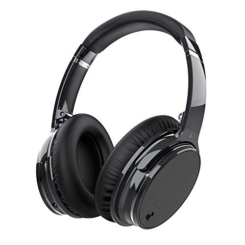 Zhicity Active Noise Cancelling Bluetooth Headphones with Mic, Stereo Wireless Headset with Microphone & Comfortable Earpads & 12 Hours Playtime & Wireless Headphones for Cellphone/Tablet (Black)