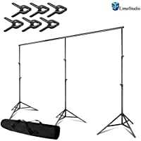 LimoStudio Photo Video Studio, Max 20 ft. Wide, Length Adjustable Photo Background Muslin Backdrop Support System with 3 Stands, Spring Support Clamp Photography Studio, AGG2280