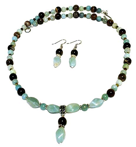 (Petrified wood and amazonite necklace and earrings set; Long light sea-blue necklace with pendant; Gift from Seattle; Gift from Washington State; Handmade in)