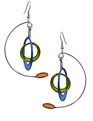 Kinetic Sculpture Inspired Stainless Steel Art Earrings, Modernist Mobile - Blue, Green, Orange - Mobile Museum Art
