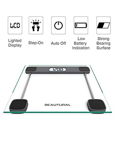 Beautural Precision Digital Body Weight Bathroom Scale with Lighted Display, Step-On Technology, 400 lb by Beautural (Image #3)