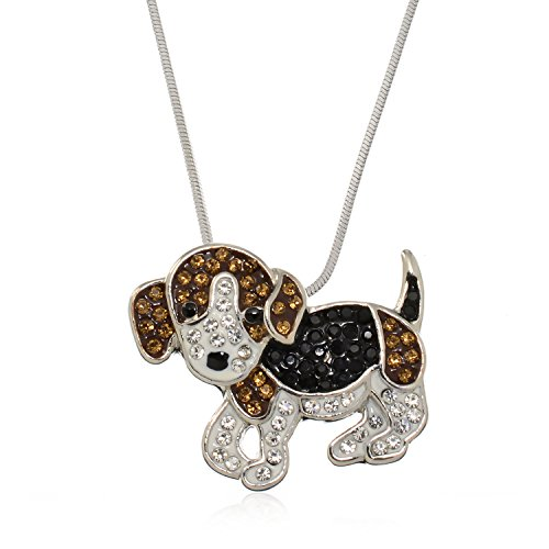 (PammyJ Puppy Dog Jewelry - Puppy Necklace with Brown and Black Crystals for Girls and Women,)