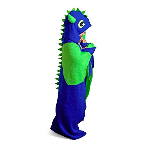 Born To Unicorn Dinosaur Blanket for Kids | Cute, Wearable Throw with Warm Hand Pockets | Magical Dino Dragon Hooded Wrap | Soft, Plush, Hypoallergenic | Boys, Girls (Blue and Green)