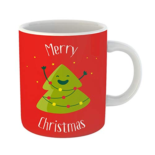 Emvency Funny Coffee Mug Merry Christmas Smiling Cartoon Tree and Garland Lights Flat 11 Oz Ceramic Coffee Mug Tea Cup Best Gift Or Souvenir
