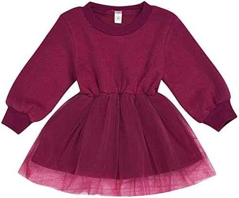 Vestido Boda para Ni/ñas Princesa Falda de Mangas Largas de Volantes Rosado Vestidos Beb/és Talla para 1-6 A/ños DaMohony