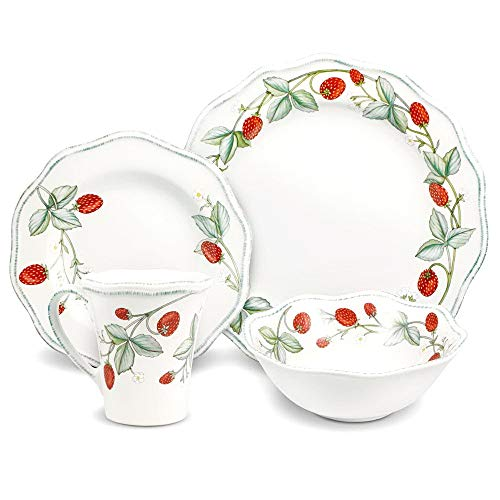 Stoneware Table - Dinnerware Set. 16 Piece. Round Dinner Dish Kit For 4. White With Strawberries For Home Kitchen Everyday Dishware, Dining, Plates, Bowls, Mugs. Stoneware Tableware. Dishwasher, Microwave Save