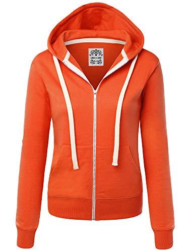 Lock and Love WSK954 Womens Active Fleece Zip Up Hoodie Sweater Jacket XXL Orange