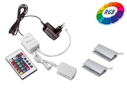 2er Set SO-TECH® RGB LED Farbwechsel Glasbodenbeleuchtung Glaskantenbeleuchtung Clip inkl. Multi-Funktion Fernbedienung