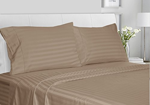 CHATEAU HOME COLLECTION Luxury 100% Supima Cotton 500 Thread Count Ultra Soft Damask Stripe Sheet Set, Mega Sale, Lowest Prices, Taupe, King - King Taupe Stripe