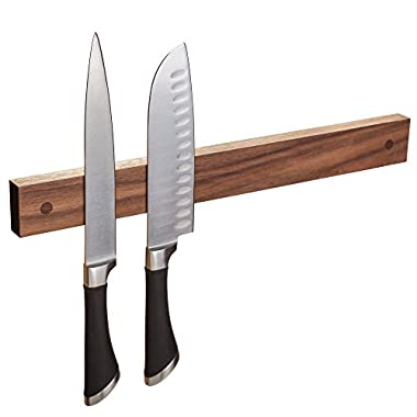Walnut 16  Magnetic Knife Strip, Solid Wall Mount Wooden Knife Rack, Bar Made in USA