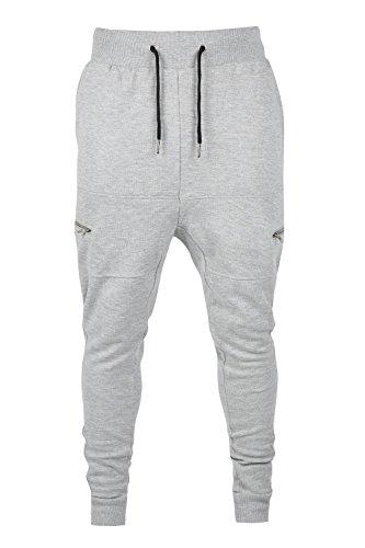 Mens Designer Drop Crotch Skinny Slim Fit Stretch Joggers Bottoms Trouser - Designer Outlet Mens