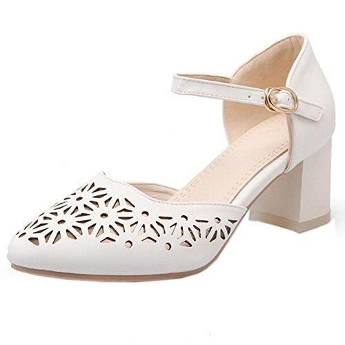 COOLCEPT Mujer Moda Ankle Strap Court Zapatos Tacon Ancho medio Bombas Zapato Cerrado Zapatos Blanco