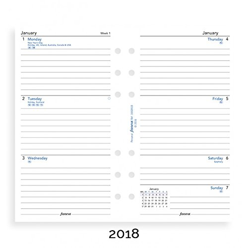 filoFax 68418 For 2018 Personal Diary Week to View Lined English