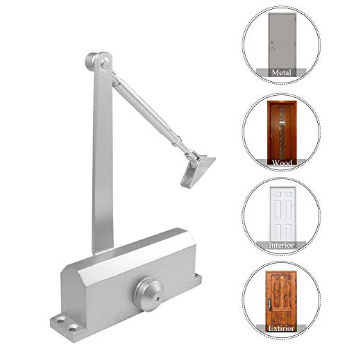 Installing Fold Doors Bi (HOMEE Door Closer Satin Stainless Steel Aluminum Alloy Door Accessory with Hydraulic Hinge 2 Adjustment Valves, for Residential and Commercial Door Width up to 1100 mm (Square 99-143 LB))
