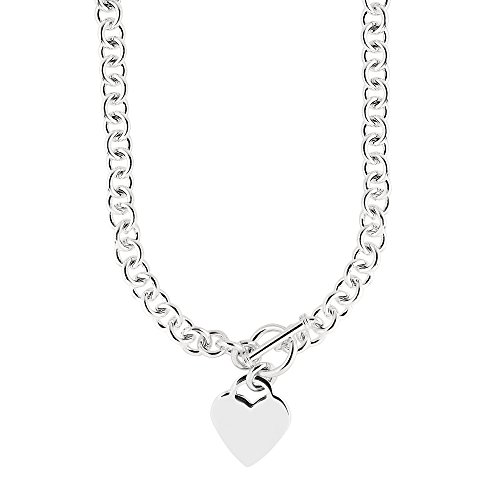 Ritastephens Sterling Silver Rhodium Charm Link Heart Tag Toggle Necklace 18 Inches
