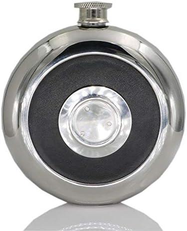 Lopbinte Frasco de Bolsillo de Acero Inoxidable Redondo con Vaso de Medida Incorporado Frasco de Cadera 5Oz Botellas de Alcohol Pulidas Espejo Negro