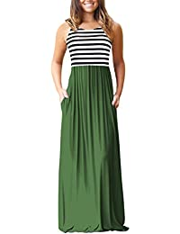 Womens Summer Loose Plain Maxi Dress Casual Flowy Vacation Long Dresses with Pockets