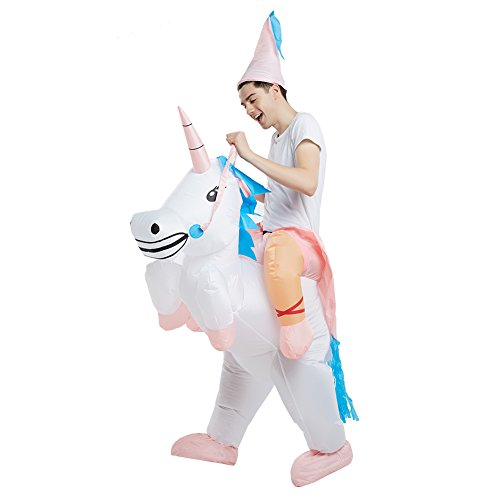 Timmins Inflatable Costume Unicorn Ride for Adult Halloween Suit Outfit Fancy Dress
