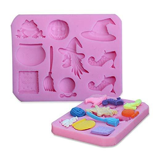 opOpb213IL Silicone Mold DIY Fondant Mould Craft Tool,Halloween Witch Broom Silicone Fondant Mold Sugarcraft Cake Decorating Tool - Pink]()
