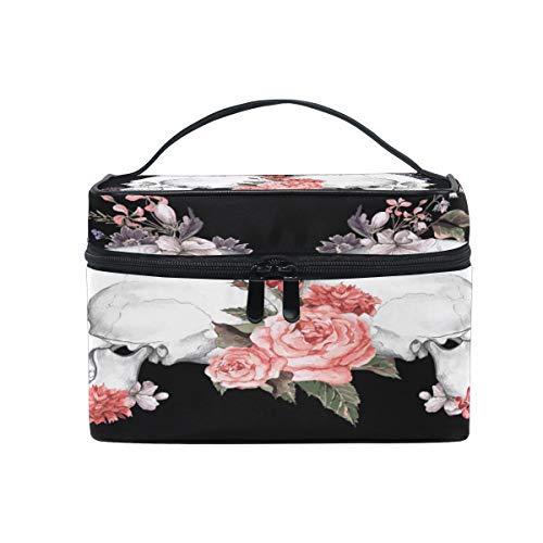 Cutexl Cosmetic Bag Halloween Floral Flower Skull Large Makeup Brush Box Portable Travel Train Case Organizer for Women Lady]()