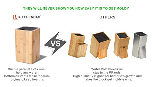 Deluxe Universal Knife Block with Slots for Scissors and Sharpening Rod - Eco-Friendly Bamboo Knife Holder For Safe, Space Saver Knives Storage - Unique Slot Design to Protect Blades - by KITCHENDAO by KITCHENDAO (Image #2)