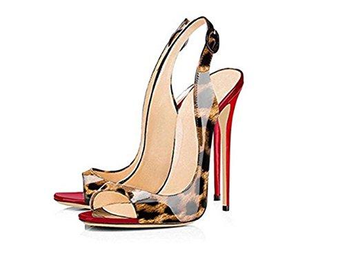 SZXC Mujer Zapatos De TacóN De Aguja Con Hebilla De La Correa Del Tobillo Del Dedo Del Pie Del PíO Sandalias Slingback , leopard print , 34