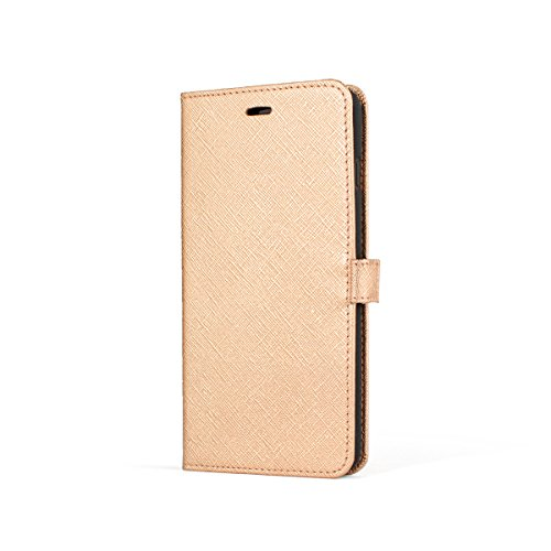 Premium Rose Gold Saffiano Handmade Genuine Leather Phone Side Flip Book Style Wallet Case With One Credit Card Insert for Apple iPhone 7 Plus (5.5)