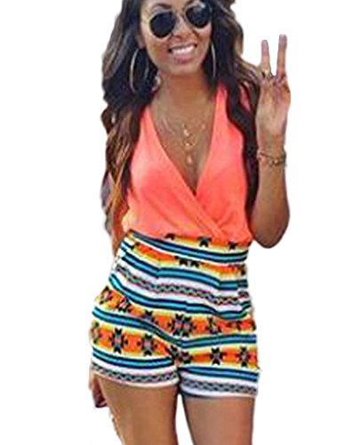 Floral Sleeveless Shorts (Women's V-Neck Floral Print Sleeveless Short Pants Jumpsuit Romper)