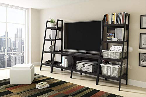 Awe Products Premium TV Console Stand + Ladder Bookcase Entertainment Rack Rear for up to 62